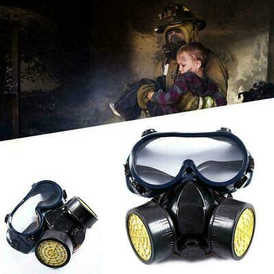 Emergency Respirator Mask Chemical Gas Mask with Goggles Dual & 2 Protection