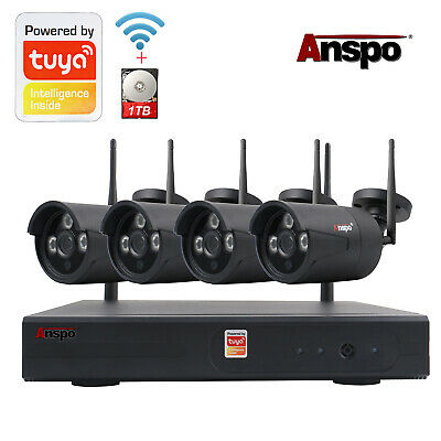 HD 720/1080P 4CH CCTV WiFi NVR 1TB 1/2MP Outdoor Wireless Security Camera System