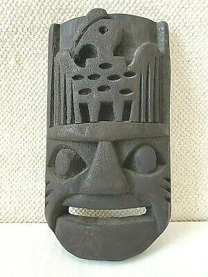 Hand Carved Wood Tiki, Black Mask Wall Hanging