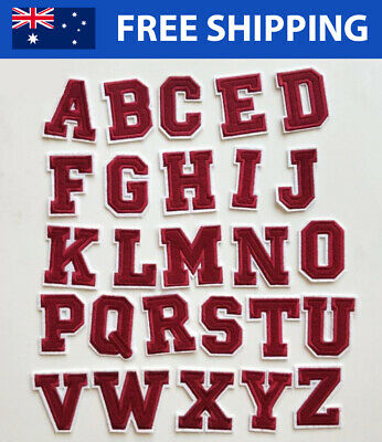 Red Alphabet Letter A-Z Embroidered Patches - Embroidery Font Patch Iron Sew