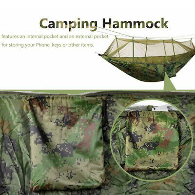 Double Hammock with Mosquito Net Hanging Sleepping Bed Camping Outdoor Hiking