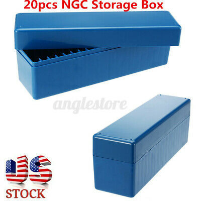 US 20PCS Blue Storage Box Case Holds Certified PCGS, NGC, ICG Slabs Coin Holders