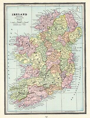 1890 Antique IRELAND Map Original Vintage Crams Map of Ireland Wall Art 7570