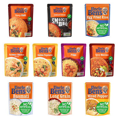 Uncle Bens Microwave Rice 250g Veg Chicken Chilli Mexican Pepper Multi Flavours