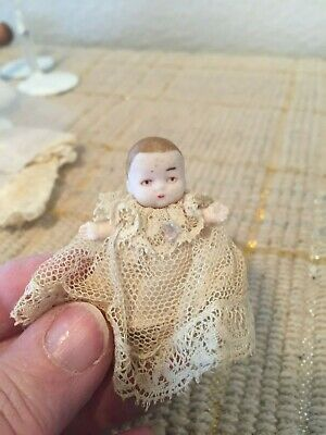 """Antique Vintage Germany Miniature 1.75"""" Dollhouse Bisque Baby Doll"""