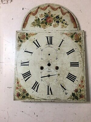 Beautiful Antique Grandfather Clock Dial Hand Painted Bird & Flower Decoration
