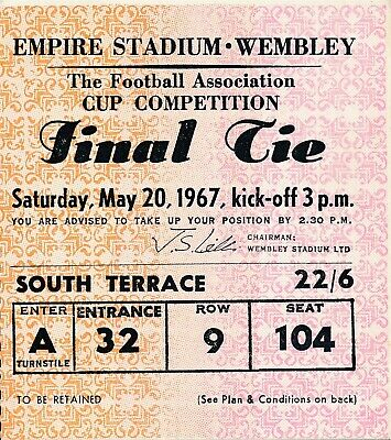 TICKET: FA CUP FINAL 1967 Tottenham v Chelsea - EXCELLENT