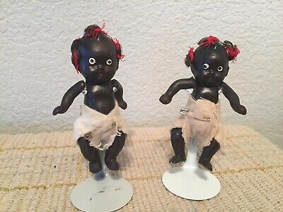 Vintage Pair of Old Japanese Bisque Miniature Black AA Baby Dolls