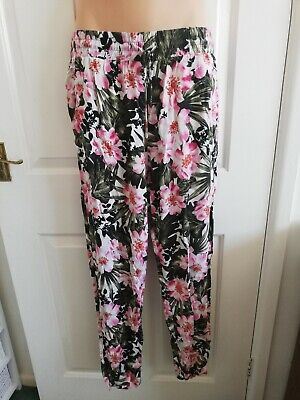 Floral Cotton Light Summer Trousers Size 12 From Dorothy Perkins VGC