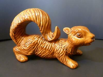 """Vintage 1975 Bead Eyes Squirrel Statue Figurine Pottery Ceramic Signed 9"""""""