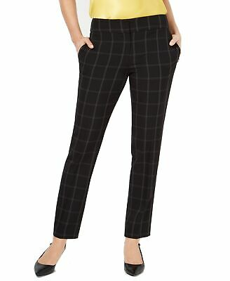 Kasper Women's Dress Pants Black Size 10X30 Windowpane Flat Stretch $89 #452
