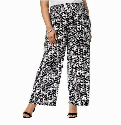 NY Collection Womens Black Size 3XP Plus Printed Wide Leg Pants Stretch $54 #113