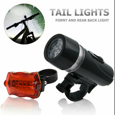 Waterproof Bright 5 LED Bike Bicycle Cycle-Front and Rear Back Tail Light Lights