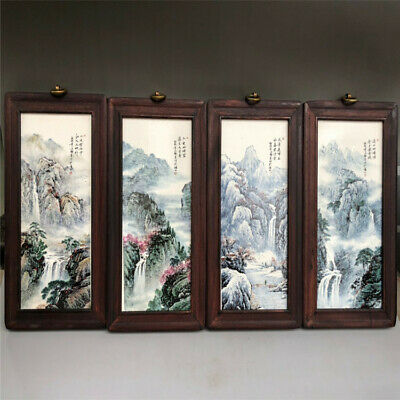 Chinese antique porcelain plate painting-Landscape in four seasons