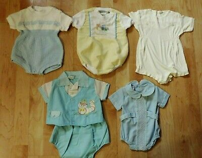 Lot 5 Vintage  Baby Boy Outfits Friemanit Rowley Obion Cradle Togs 0 To 6 Months