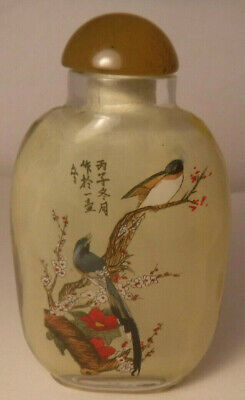 Snuff Bottle Reverse Painted Inside Glass Jade Stopper Birds Motif Vintage **
