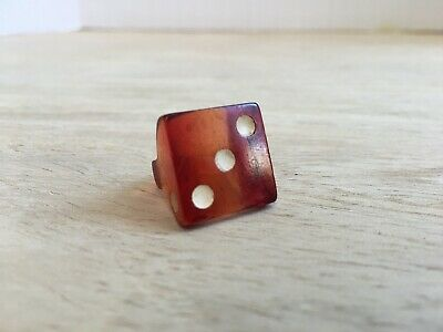 Vintage Bakelite Real Dice Hand Carved Ring Prison Trench Folk Art Small Sz 3.5