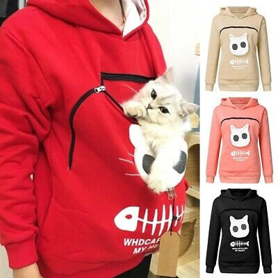 Women Sweatshirt Animal Pouch Hood Tops Carry Cat Breathable Pullover Blouse Top