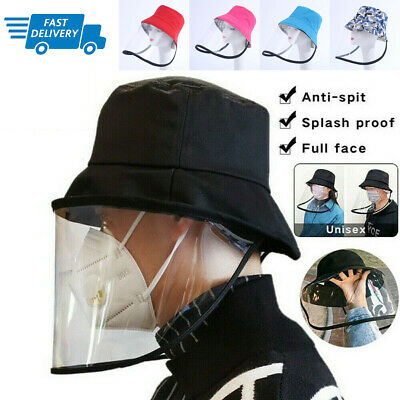 US Epidemic Protection Hat Anti Saliva Cap Full Face Shield Isolation bacteria R