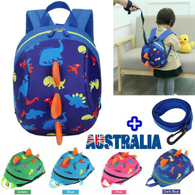 Baby Toddler Kid Safety Harness Backpack Anti-lost Leash Dinosaur Bag YR