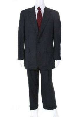 Brooks Brothers Mens Pinstripe Suit Dark Gray Size 42