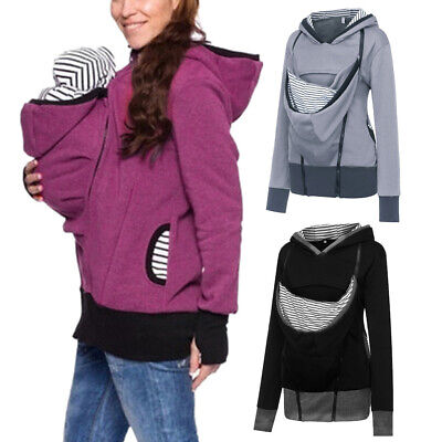 Women Maternity Striped Baby Pouch Carrier Hoodie Kangaroo Zipper Pregnancy Coat