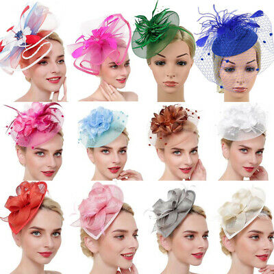 Fashion Netting Feather Big Flower Head Band Party Girls Women Hair Hat Clip