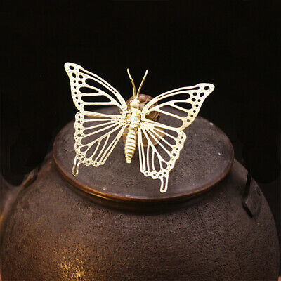 Fine China Brass Hand-Carved Insect Lifelike Butterfly Statue Foldable wings
