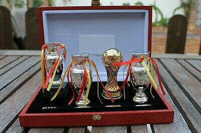 World Cup And Euro Spain Football Set Of Trophys.