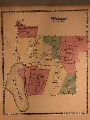 Map Of Wales,Maine;Original;From 1873 Sanford,Everts Androscoggin County  Atlas