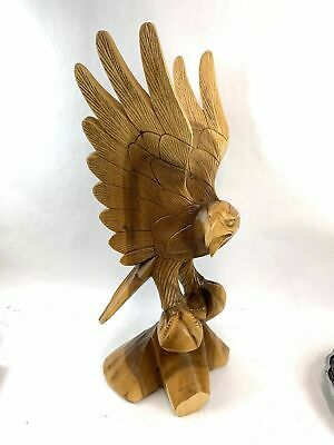 Vintage Hand Carved Wooden Eagle Falcon Wings Out Stands 24  Inches Tall