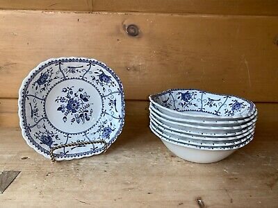 Johnson Brothers INDIES BLUE Square Cereal Soup Bowls Set Of 8 Made in England