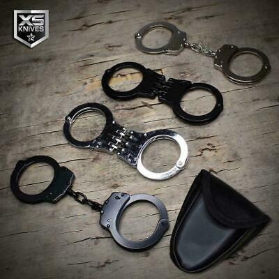 Professional Handcuffs DOUBLE LOCK Hinged Real Hand Cuffs Police w/Keys + Pouch