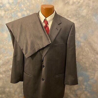 Jos. A. Bank 46 S Gray Herringbone Wool Two Button 2 Pc Men's Suit