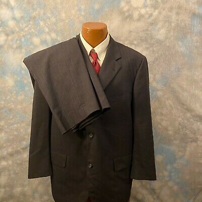 Brooks Brothers 46 R Gray Striped Wool Three Button 2 Pc Men's Suit