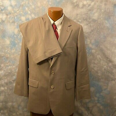 Brooks Brothers 42 R Khaki Wool Stretch Two Button 2 Pc Men's Suit