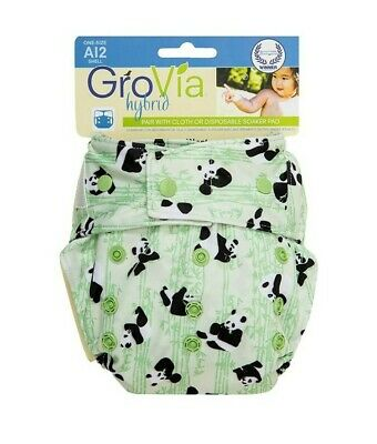 Grovia Hybrid Shell One-Size Snap Closing - HTF Pudge Panda Unisex (A12) NEW
