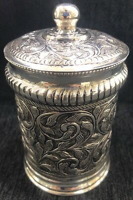 925 Sterling Silver Hand Chased Round Cylindrical Box Container Repousse Gift