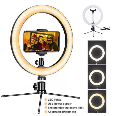 10IN LED Ring Light with Stand for Youtube Tiktok Makeup Video Live Phone Selfie