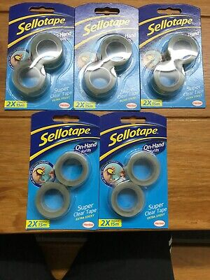 5 x Sellotape On-Hand Refills 8 Super Clear Extra Sticky Tape Rolls 18mm x 15m