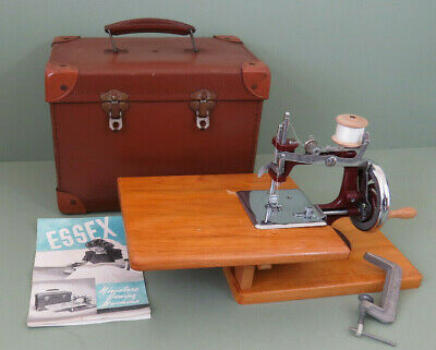 Vintage Essex Miniature Sewing Machine with Case and Manual (circa 1950's)
