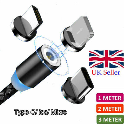 UK Magnetic Cable Type C Micro USB Charger Cord for iPhone Samsung Mobile Phone