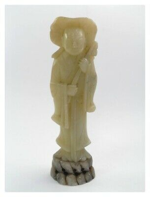 Antique Chinese hand carved soapstone figure deity immortal lady in robe