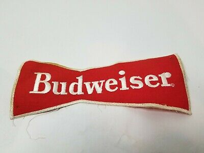 "Vintage Large Budweiser Beer Bowtie PatchMeasures 9"" x 4"". Sew or Iron on Patch"