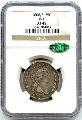 1806/5 Silver Bust Quarter, NGC XF-45 CAC, Very Strong Strike and Overdate!