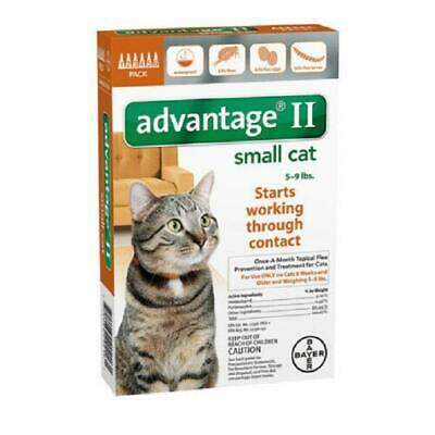 Bayer Advantage II for Small Cats 5-9 lbs - 6 Pack - NEW - FREE SHIPPING
