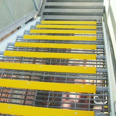 10 x GRP industrial yellow stair nosing 750 X 55 x 55 mm coarse grit top surface
