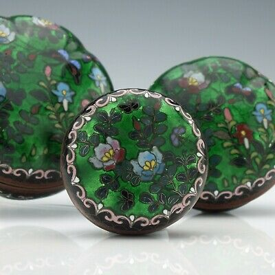 Set of Three Antique 19th Century Japanese Cloisonne Boxes c1875