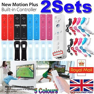 2X Motion Plus Remote Controller & Nunchuck For Nintendo Wii & Wii U + Case -M