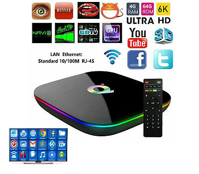 ROYAL+ Q Plus SMART TV BOX 4 GB RAM 64GB 6K ANDROID 9.0 PIE IPTV WIFI WIRELESS
